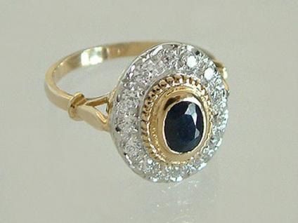 Eleganter ovaler Ring Gold 585 m. Saphir Solitär - Goldring 14kt edler Damenring