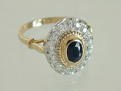 Eleganter ovaler Ring Gold 585 mit Saphir Solitär Goldring 14kt edler Damenring