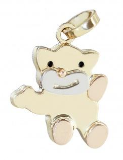 Großer Teddybär Anhänger Gold 585 mehrfarbig Kettenanhänger Teddy 14 Kt