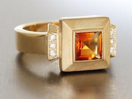 Exclusiver Ring Gold 585 m Brillanten + Citrin - Goldring Damenring Brillantring