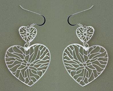 Designer Ohrschmuck Silber 925 Herzen lange bewegliche Ohrhänger Herz