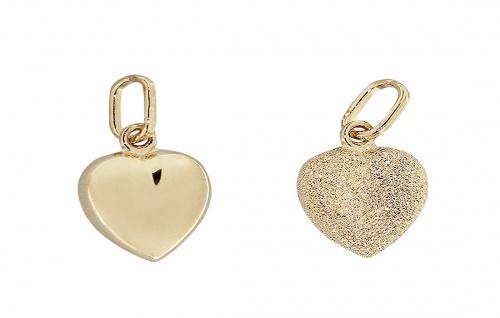 Diamantiertes kleines Herz - Anhänger Gold 585 - Goldanhänger - Goldherz 14 kt