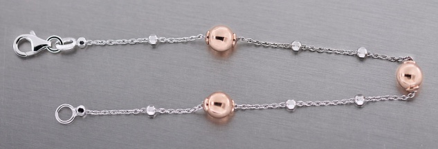 Kugel Armband Silber 925 Rotgold Armkette bicolor rose Kugelkette Damen
