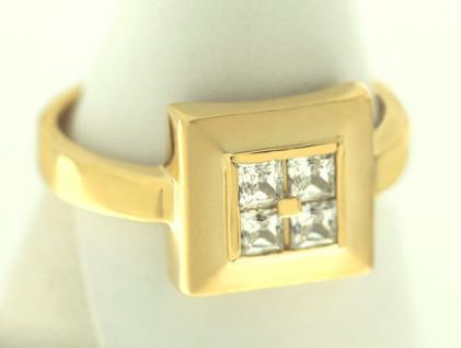 Designerring Gold 750 Ring Quadrat mit Zirkonia Carrees Goldring Damenring