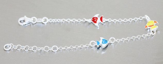 Mädchen Armband echt Silber 925 Fische bunt emailliert massiv Kinder Karabiner