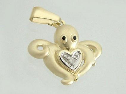 Octopus mit Herz und Diamant - Anhänger Gold 750 - Goldanhänger 18 kt Diamant