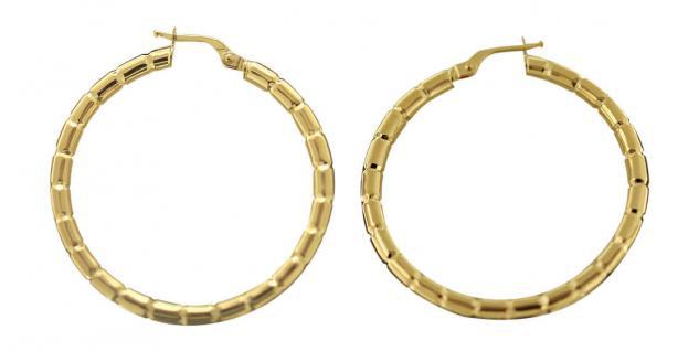 3, 6 cm große Creolen Gold 585 Ohrringe Goldcreolen mit Muster Creole 14 kt