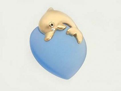 Herz Anhänger hellblaues Herzchen mit Delfin Gold 375 - Golddelfin Goldanhänger