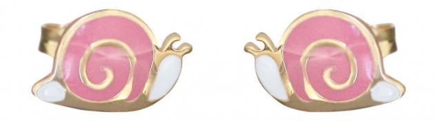 Kinder Ohrstecker Gold 585 kleine Schnecken Ohrringe rosa emailliert Mädchen