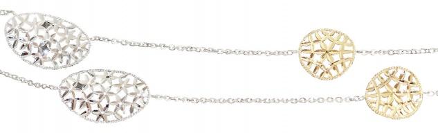 90 cm lange Goldkette 750 / 18 kt bicolor Collier ovale Dekor Glieder Halskette