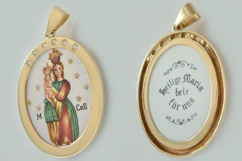 Großer Marienanhänger Gold 585 mit Brillanten - Goldanhänger Anhänger Gold 14 kt