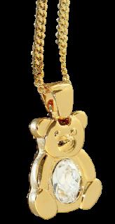 Teddybär Kette Anhänger Zirkonia Panzerkette niedlicher Teddy Halskette