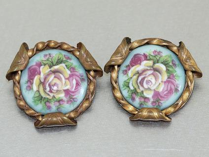 Ohrclipse mit Porzellanmalerei Blumenmotive Limoges, France