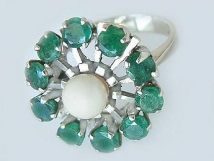 Smaragdring mit Perle - Ring Weißgold 585 - Weißgoldring - Perlenring Gold 14 kt