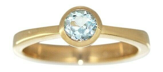 Massiver Solitärring Ring Gold 585 mit Topas Damenring Goldring Solitär