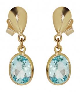 Ohrhänger Gold 585 Blautopas Ohrstecker 14 Karat Topas Goldohrhänger Ohrringe