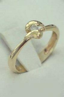 Massiver Goldring Brillantring Solitärring Ring Gold 585 Damenring 14 kt
