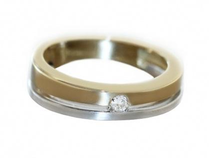 Ring Gold 585 bicolor mit Brillant 0, 06 ct. Solitär Goldring Damen RW 50 - Vorschau 4