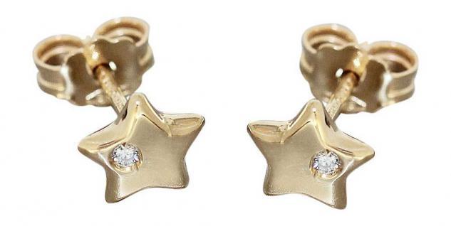 Kleine Stern Ohrstecker Gelbgold od. Weißgold 585 mit Brillanten Ohrringe 14 Kt.