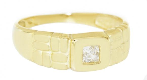 Ring Gold 750 Zirkonia Caree Gelbgold 18 Karat breiter Damenring Solitärring