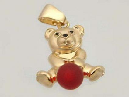 Anhänger Teddybär Gold 375 mit rotem Ball Teddy Goldanhänger Goldteddy