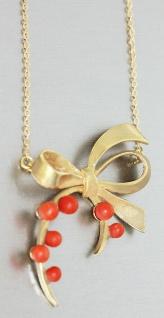 Collier Gold 750 Korallen Goldkette Halskette Schleife mit Korallenkugeln massiv