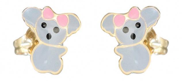 Kinder Ohrstecker Gold 585 kleine Koala Bär Ohrringe emailliert Stecker Gelbgold