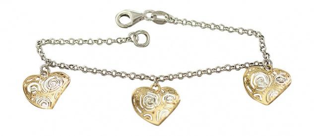 Silberarmband 925 Bettelarmband Herz Herzen Gold Armband Silber Armkette