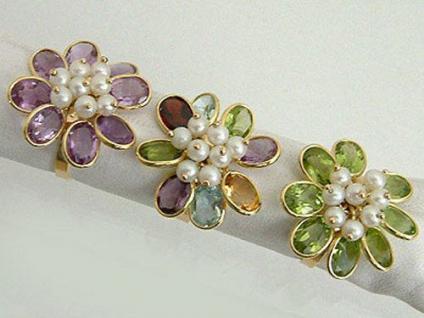 Ring Gold 750 Goldring Edelsteinring Damenring multicolor Perlenring 18 kt