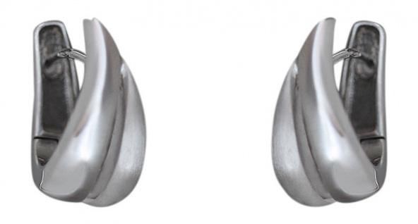 Moderne Klappcreolen in Weißgold 585 Ohrringe massiv Creolen Gold Ohrschmuck