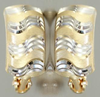 Creolen Gold 585 bicolor Ohrringe Halbcreolen Gold 14 Karat Damen Mädchen - Vorschau 4