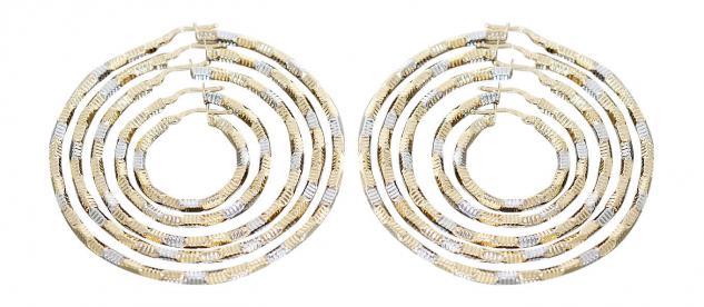 2, 5 cm / 3, 5 / 4, 7 / 5, 6 / 6, 6 cm große Creolen Gold 585 bicolor super Ohrringe