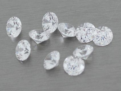 10 Stk. Cubic Zirkonias 6 mm Durchmesser weiß Brillantschliff Zirkonia 14, 5 ct.