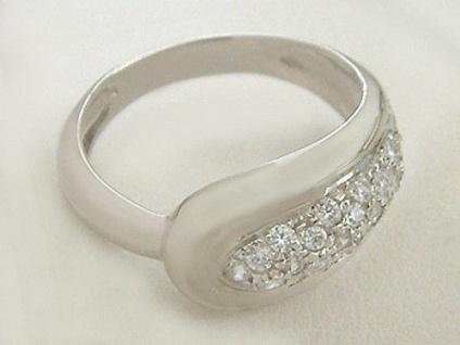Ring in Weißgold 750 - elegant mit Zirkonia - edler Ring Weißgold Goldring 18 kt
