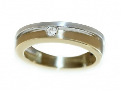 Ring Gold 585 bicolor mit Brillant 0, 06 ct. Solitär Goldring Damen RW 50