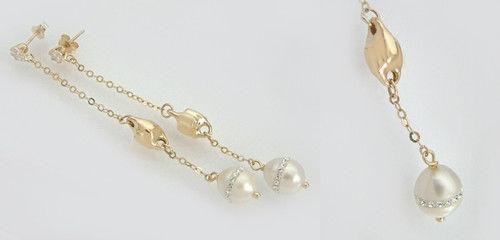 Langer eleganter Ohrschmuck Gold 585 mit Perlen Goldohrstecker 585 Ohrhänger