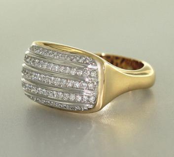 Ring Gold 750 massiver Goldring mit Brillanten 0, 74 ct. Damenring - Brillantring