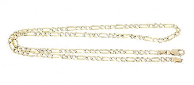Kette Armband Gold 585 massiv Figarokette Karabiner Goldkette bicolor 14 Karat