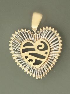 Goldherz 585 - Anhänger Herz Gold bicolor - Goldanhänger - großes Herz 14 kt