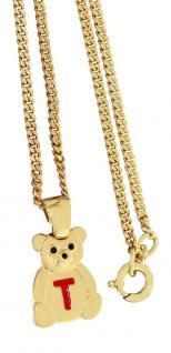 Kinderkette u Anhänger Teddybär mit Buchstabe T Goldkette pl - Teddy Panzerkette