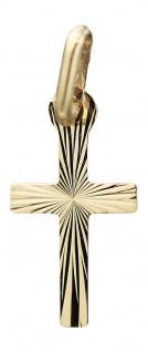 Kleines Kreuz Gold 585 Goldkreuz geschliffen Anhänger zur Taufe oder Kommunion