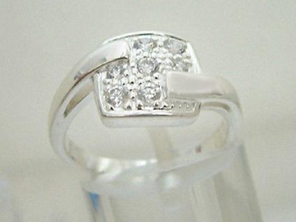 Funkelndes Zirkonia Quadrat Silberring 925 Super Blickfang Ring Silber