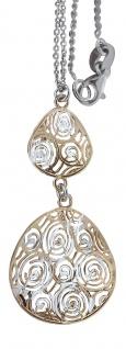 Silberkette und Anhänger 925 Gold Kette mit Anhänger Silber vergoldet Collier