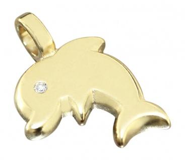 Delfin Anhänger Gold 750 mit Diamant Goldanhänger Dolphin Glücksbringer 18 Karat