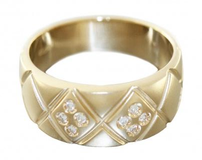 Breiter Goldring 585 mit 8 Brillanten Brillantring Ring Gold 14 kt