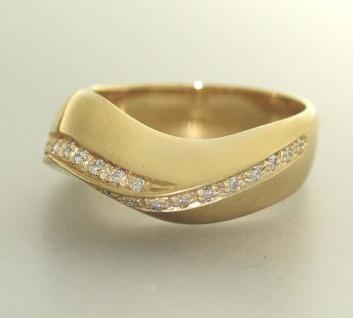 Massiver Goldring 750 mit Brillant 0, 21 ct. Ring Gold - Damenring - Brillantring