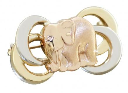 Brosche Gold 585 Elefant 5 gr. dreifärbige Goldbrosche Damen 14 Karat