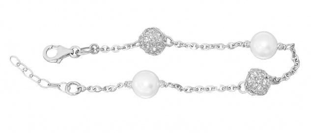 Armband Silber 925 Perlen und Kugeln Armkette Karabiner Damen Designerarmband