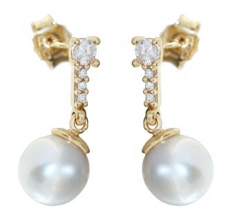 8 mm Perlen Ohrhänger Gold 585 Zirkonias Ohrringe Damen Ohrschmuck Akoya
