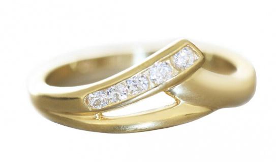 Ring Gold 750 mit Zirkonias eleganter Goldring Damenring 18 Karat RW 48 50 51 62